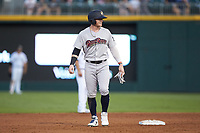 Clint Frazier (77) of the Scranton/Wilkes-Barre RailRiders takes his lead off of second base against the Charlotte Knights at BB&T BallPark on August 13, 2019 in Charlotte, North Carolina. The Knights defeated the RailRiders 15-1. (Brian Westerholt/Four Seam Images)