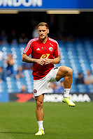 Billy Sharp of Sheffield United warming up during the Premier League match between Chelsea and Sheff United at Stamford Bridge, London, England on 31 August 2019. Photo by Carlton Myrie / PRiME Media Images.