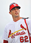 8 March 2012: St. Louis Cardinals' infielder Matt Carpenter stands outside the dugout prior to a Spring Training game against the Boston Red Sox at Roger Dean Stadium in Jupiter, Florida. The Cardinals defeated the Red Sox 9-3 in Grapefruit League action. Mandatory Credit: Ed Wolfstein Photo