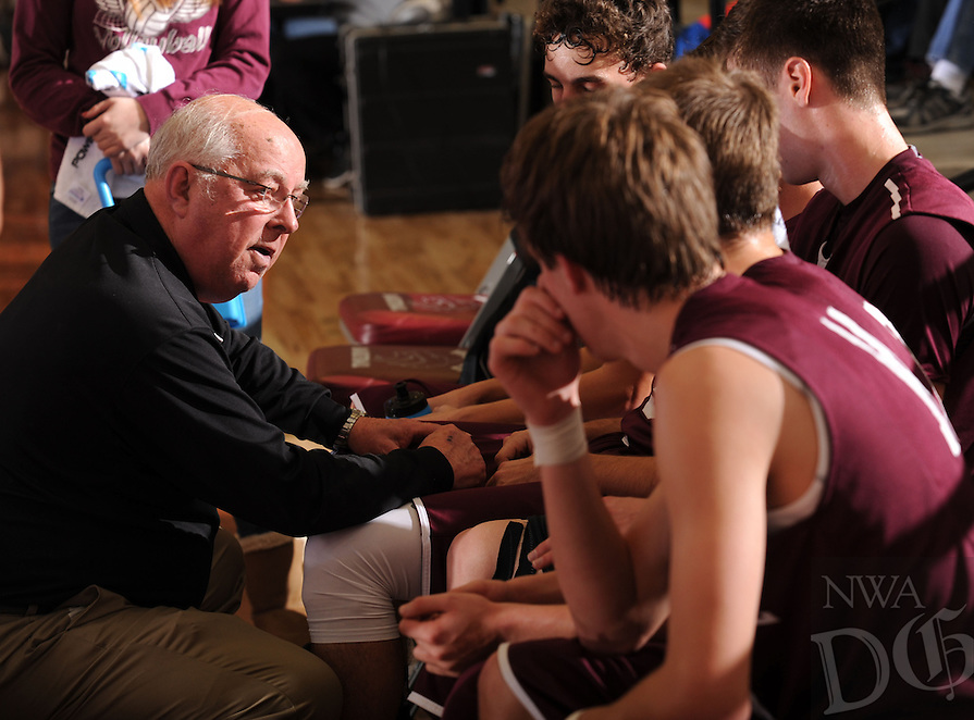 NWA Democrat-Gazette/ANDY SHUPE<br /> Longtime Huntsville boys basketball coach Jim Stafford directs his players against Lincoln Friday, Jan. 8, 2016, in Lincoln. Visit nwadg.com/photos to see more photographs from the game.