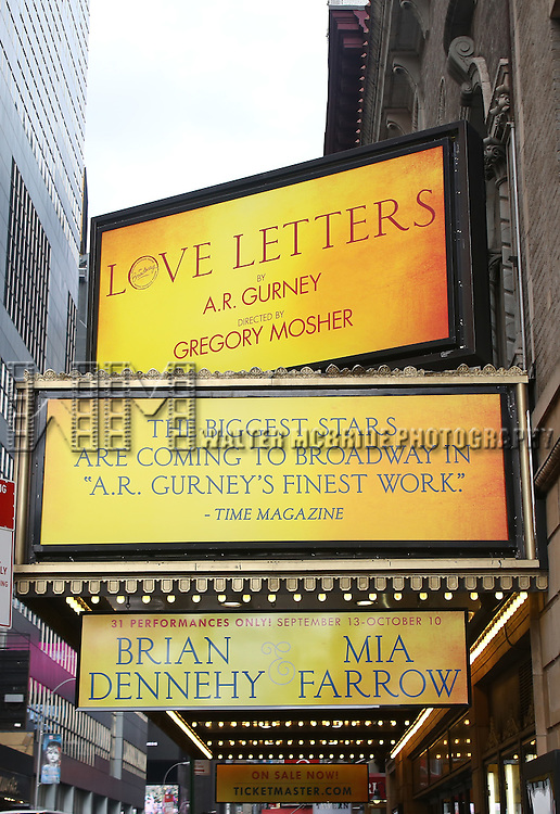 Theatre Marquee unveiling for 'Love Letters' starring Brian Dennehy & Mia Farrow at the Brooks Atkinson Theatre on September 11, 2014 in New York City.
