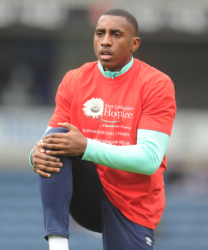 Blackburn Rovers' Amari'i Bell during the pre-match warm-up <br /> <br /> Photographer Kevin Barnes/CameraSport<br /> <br /> The EFL Sky Bet Championship - Blackburn Rovers v Swansea City - Sunday 5th May 2019 - Ewood Park - Blackburn<br /> <br /> World Copyright © 2019 CameraSport. All rights reserved. 43 Linden Ave. Countesthorpe. Leicester. England. LE8 5PG - Tel: +44 (0) 116 277 4147 - admin@camerasport.com - www.camerasport.com