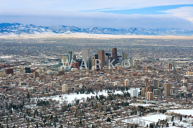 Downtown Denver skyline, aerial in winter.  Feb 2011