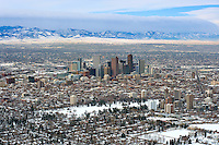 Downtown Denver skyline, aerial in winter.  Feb 2011