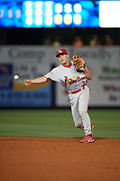 Palm Beach Cardinals second baseman Luke Dykstra (32) throws to first base during a game against the Charlotte Stone Crabs on April 11, 2017 at Charlotte Sports Park in Port Charlotte, Florida.  Palm Beach defeated Charlotte 12-6.  (Mike Janes/Four Seam Images)