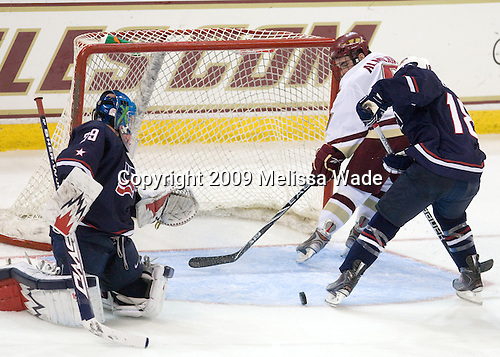 Andy Iles (US - 29), Barry Almeida (BC - 9), Austin Czarnik (US - 18) - The Boston College Eagles defeated USA Hockey's National Team Development Program's Under 18 team 6-3 on Friday, October 9, 2009 at Conte Forum in Chestnut Hill, Massachusetts.