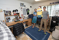 Roommates Luke Haas '19 and Jimmy Li '19 (glasses) in Stewart-Cleland Hall (Stewie), April 28, 2016.<br /> (Photo by Marc Campos, Occidental College Photographer)