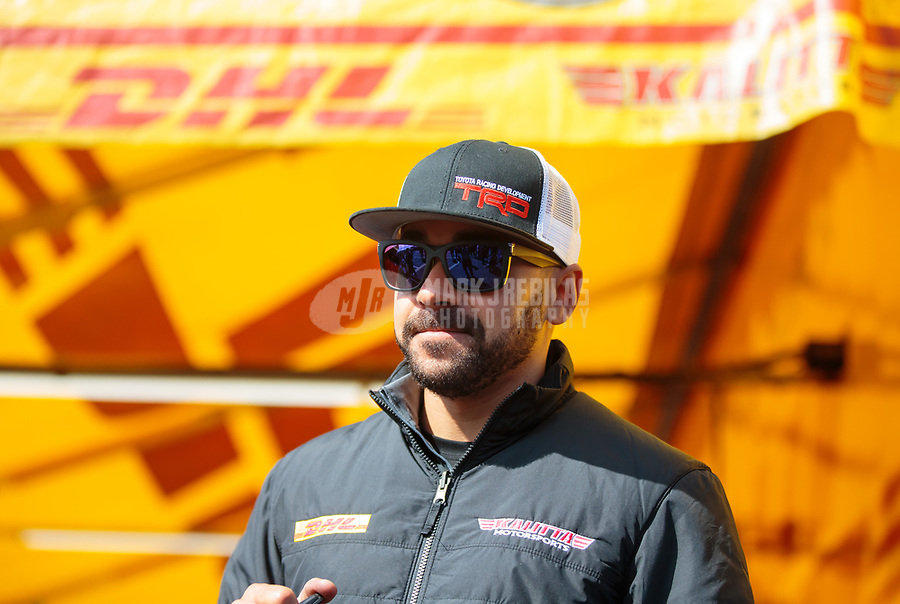 Feb 9, 2019; Pomona, CA, USA; NHRA funny car driver J.R. Todd during qualifying for the Winternationals at Auto Club Raceway at Pomona. Mandatory Credit: Mark J. Rebilas-USA TODAY Sports