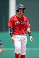 GCL Red Sox left fielder Juan Hernandez (3) during a game against the GCL Rays on August 1, 2018 at JetBlue Park in Fort Myers, Florida.  GCL Red Sox defeated GCL Rays 5-1 in a rain shortened game.  (Mike Janes/Four Seam Images)