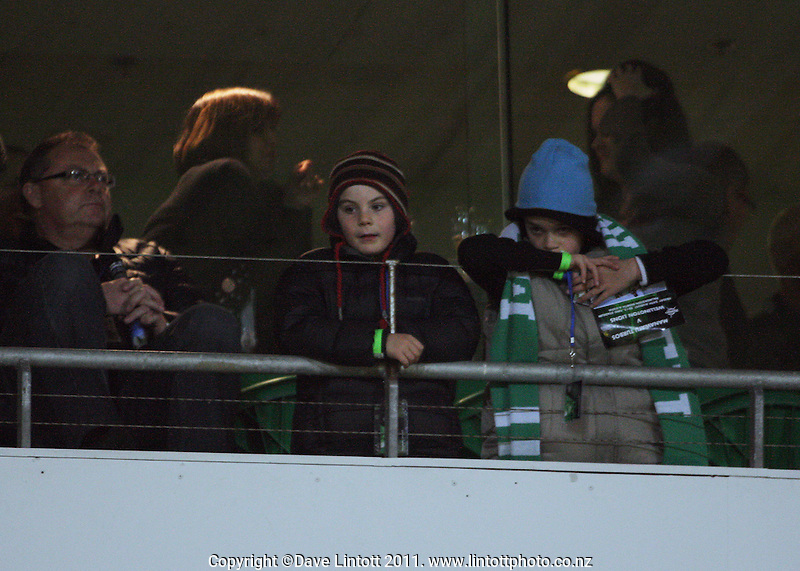 Manawatu fans watch from the corporate boxes during the ITM Cup rugby match between Manawatu Turbos and Wellington Lions at FMG Stadium, Palmerston North, New Zealand on Friday, 25 August 2012. Photo: Dave Lintott / lintottphoto.co.nz