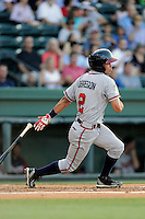 Shortstop Omar Obregon (2) of the Rome Braves bats in a game against the Greenville Drive on Monday, June 15, 2015, at Fluor Field at the West End in Greenville, South Carolina. Greenville won, 9-3. (Tom Priddy/Four Seam Images)
