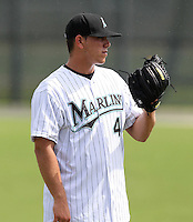 Pitcher Jose Fernandez #44 of the Florida Marlins instructional League team during a game against the Italian National Team at the Roger Dean Stadium in Jupiter, Florida;  September 27, 2011.  Italy is training in Florida for the Baseball World Cup.  (Mike Janes/Four Seam Images)