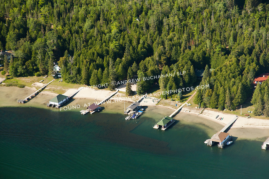 Homes and boathouses along S. Park Ave. facing Snows Channel, from the fire road boat launch to Les Cheneaux Golf Club, Les Cheneaux area of Lake Huron near Cedarville, MI