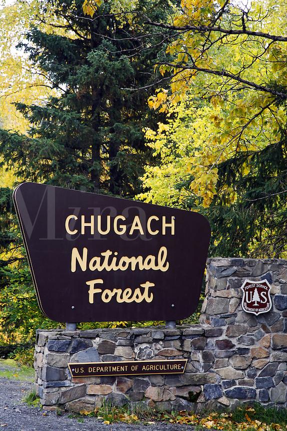 Chugach National Forest sign, Kenai Peninsula, Chugach National Forest, Alaska.