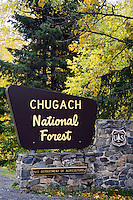 Chugach National Forest sign, Kenai Peninsula, Chugach National Forest, Alaska.