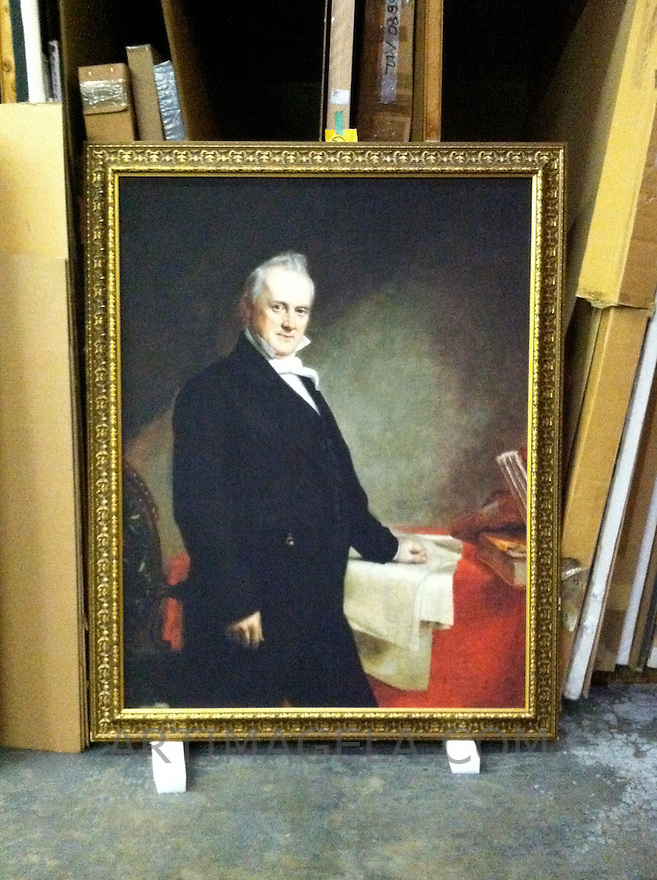 James Buchanan, 1791-1868, Fifteenth President of the United States <br /> This is a framed Digital Reproduction. Size: 61 3/8&quot; x 47 1/8&quot; Plus Frame <br /> <br /> Original Image Information: <br /> James Buchanan, 1791-1868, Fifteenth President of the United States. Oil on canvas, 1859. by George Peter Alexander Healy(1813-1894)Location: National Portrait Gallery, Smithsonian Institution, Washington Reproduction Size: 61 3/8&quot; x 47 1/8&quot; Plus Frame Portrait from the National Portrait Gallery