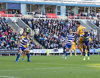 Preston North End's David Nugent (right) headers the ball on target as he battles with Reading's Andy Yiadom as <br /> <br /> Photographer David Horton/CameraSport<br /> <br /> The EFL Sky Bet Championship - Reading v Preston North End - Saturday 19th October 2019 - Madejski Stadium - Reading<br /> <br /> World Copyright © 2019 CameraSport. All rights reserved. 43 Linden Ave. Countesthorpe. Leicester. England. LE8 5PG - Tel: +44 (0) 116 277 4147 - admin@camerasport.com - www.camerasport.com
