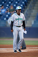 Daytona Tortugas manager Ricky Gutierrez (12) delivers the lineup before a game against the Tampa Tarpons on April 18, 2018 at George M. Steinbrenner Field in Tampa, Florida.  Tampa defeated Daytona 12-0.  (Mike Janes/Four Seam Images)