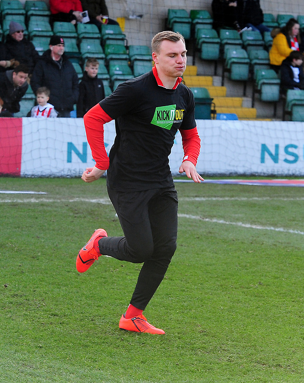 Lincoln City's Harry Anderson during the pre-match warm-up<br /> <br /> Photographer Andrew Vaughan/CameraSport<br /> <br /> The EFL Sky Bet League Two - Lincoln City v Northampton Town - Saturday 9th February 2019 - Sincil Bank - Lincoln<br /> <br /> World Copyright &copy; 2019 CameraSport. All rights reserved. 43 Linden Ave. Countesthorpe. Leicester. England. LE8 5PG - Tel: +44 (0) 116 277 4147 - admin@camerasport.com - www.camerasport.com