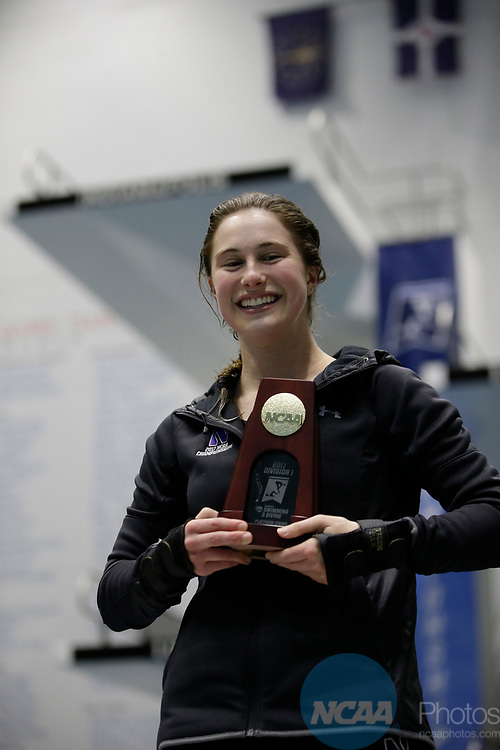 INDIANAPOLIS, IN - MARCH 18: Olivia Rosendah after winning the platform diving title during the Division I Women's Swimming & Diving Championships held at the Indiana University Natatorium on March 18, 2017 in Indianapolis, Indiana. (Photo by A.J. Mast/NCAA Photos via Getty Images)
