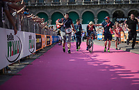 Vincenzo Nibali (ITA/Bahrain-Merida) escorted to the (final) podium after finishing the closing TT into Milano<br /> <br /> stage 21: Monza - Milano (29km)<br /> 100th Giro d'Italia 2017