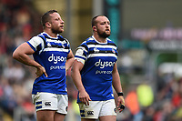 Max Lahiff and Tom Dunn of Bath Rugby look on during a break in play. Gallagher Premiership match, between Leicester Tigers and Bath Rugby on May 18, 2019 at Welford Road in Leicester, England. Photo by: Patrick Khachfe / Onside Images