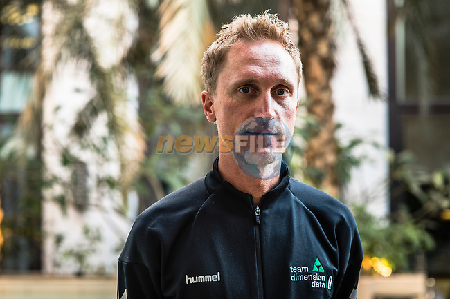 Enrico Gasparotto (ITA) Team Dimension Data at the top riders press conference before the start of 10th Tour of Oman 2019, Muscat, Oman. 15th February 2019.<br /> Picture: ASO/Kåre Dehlie Thorstad | Cyclefile<br /> All photos usage must carry mandatory copyright credit (© Cyclefile | ASO/Kåre Dehlie Thorstad)