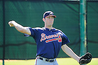 Infielder Codey McElroy (98) of the Atlanta Braves farm system in a Minor League Spring Training workout on Monday, March 16, 2015, at the ESPN Wide World of Sports Complex in Lake Buena Vista, Florida. (Tom Priddy/Four Seam Images)