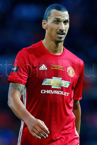 03.08.2016. Old Trafford, Manchester, England. Wayne Rooney Testimonial Football Match. Manchester United versus Everton. Zlatan Ibrahimovic of Manchester United looks like he is feeling the pace