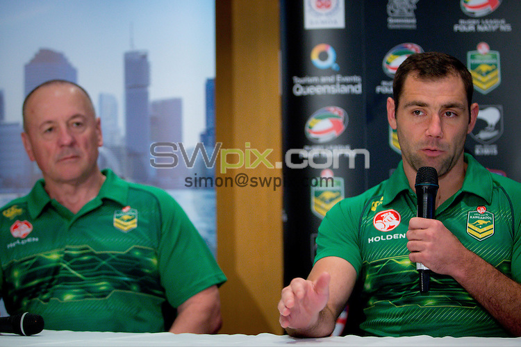 Picture by Patrick Hamilton/ www.photosport.co.nz/SWpix.com - Australian coach Tim Sheens (L) and Australian captain Cameron Smith (R) during a preview 4 Nations press conference, Brisbane Australia on October 24, 2014.