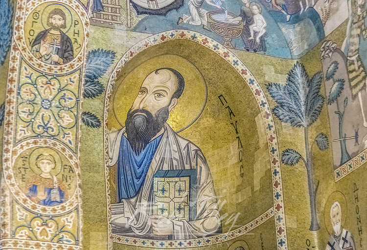 Europe, Italy, Sicily, Palermo, Palatine Chapel Mosaic Mural of St. Paul commissioned by Norman King Roger II and completed in the 12th Century