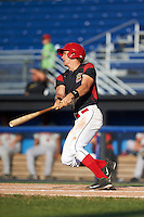Batavia Muckdogs left fielder Walker Olis (3) at bat during the second game of a doubleheader against the Auburn Doubledays on September 4, 2016 at Dwyer Stadium in Batavia, New York.  Batavia defeated Auburn 6-5. (Mike Janes/Four Seam Images)