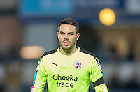 Goalkeeper Glenn Morris of Crawley Town during the Sky Bet League 2 match between Wycombe Wanderers and Crawley Town at Adams Park, High Wycombe, England on 25 February 2017. Photo by Andy Rowland / PRiME Media Images.