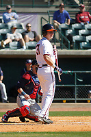 University of Virginia Cavaliers outfielder Jake McCarthy (31) at bat during a game against the Liberty University Flames at Joseph P. Riley Ballpark on February 17, 2017 in Charleston, South Carolina. Virginia defeated Liberty 10-2. (Robert Gurganus/Four Seam Images)