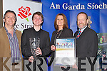 JOY: Joy to the faces of Sean ONeill, Tralee as his parent and Sean Kelly MP congrateulate him on winning the overall Lee Strand and Garda Youth Award on Friday night in the Brandon Hotel, Tralee L-r: Con, Sean, NIam ONeill and Sean Kelly (MP)...