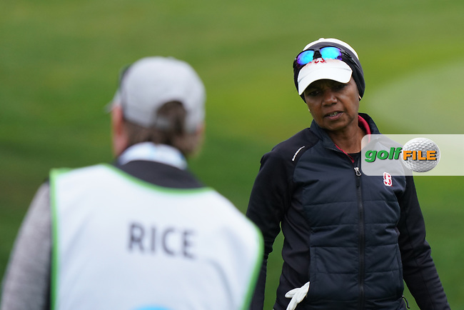 Condoleezza Rice, Former US Secretary of State in action during the third round of the AT&T Pro-Am, Pebble Beach, Monterey, California, USA. 07/02/2020<br /> Picture: Golffile | Phil Inglis<br /> <br /> <br /> All photo usage must carry mandatory copyright credit (© Golffile | Phil Inglis)