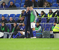 26th November 2019; Cardiff City Stadium, Cardiff, Glamorgan, Wales; English Championship Football, Cardiff City versus Stoke City; Neil Harris, Manager of Cardiff City gives instructions to Will Vaulks of Cardiff City before he is substituted on - Strictly Editorial Use Only. No use with unauthorized audio, video, data, fixture lists, club/league logos or 'live' services. Online in-match use limited to 120 images, no video emulation. No use in betting, games or single club/league/player publications