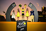 Egan Bernal (COL) Team Ineos wins the overall general classification Yellow Jersey on the final podium at the end of Stage 21 of the 2019 Tour de France running 128km from Rambouillet to Paris Champs-Elysees, France. 28th July 2019.<br /> Picture: ASO/Pauline Ballet | Cyclefile<br /> All photos usage must carry mandatory copyright credit (© Cyclefile | ASO/Pauline Ballet)