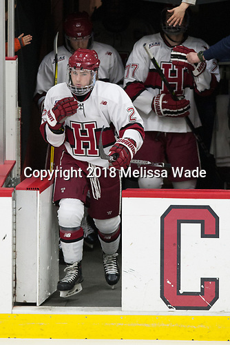 Reilly Walsh (Harvard - 2) - The visiting Colgate University Raiders shut out the Harvard University Crimson for a 2-0 win on Saturday, January 27, 2018, at Bright-Landry Hockey Center in Boston, Massachusetts.The visiting Colgate University Raiders shut out the Harvard University Crimson for a 2-0 win on Saturday, January 27, 2018, at Bright-Landry Hockey Center in Boston, Massachusetts.