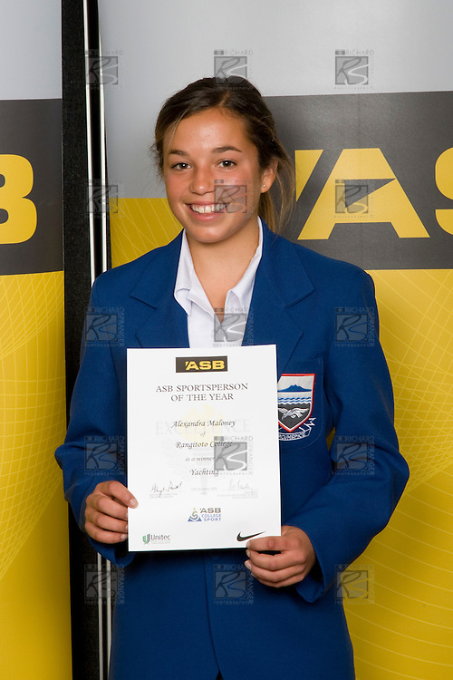 Girls Yachting winner Alexandra Maloney from Rangitoto College. ASB College Sport Young Sportperson of the Year Awards 2008 held at Eden Park, Auckland, on Thursday November 13th, 2008.