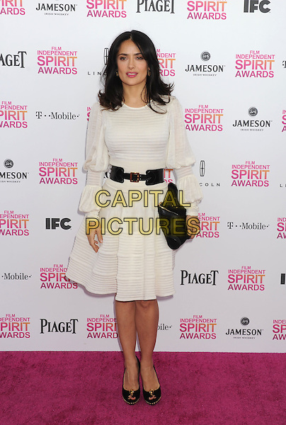 Salma Hayek.2013 Film Independent Spirit Awards - Arrivals Held At Santa Monica Beach, Santa Monica, California, USA,.23rd February 2013..indy indie indies indys full length cream white long sleeve dress black waist belt clutch bag peep toe shoes black.CAP/ROT/TM.© TM/Roth/Capital Pictures