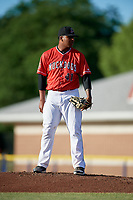 Batavia Muckdogs starting pitcher Alberto Guerrero (41) looks in for the sign during a game against the Williamsport Crosscutters on June 21, 2018 at Dwyer Stadium in Batavia, New York.  Batavia defeated Williamsport 6-5.  (Mike Janes/Four Seam Images)