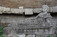 Statue of the reclining Attis (Replica, original at the Vatican Museums), apse of the Santuario di Attis (Shrine of Attis), late 3rd century, Ostia Antica, Italy. Picture by Manuel Cohen