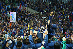 Shinji Okazaki (JPN),<br /> MARCH 29, 2016 - Football / Soccer :<br /> Shinji Okazaki of Japan is tossed in the air by his teammates as he celebrates his 100th international cap with them after the FIFA World Cup Russia 2018 Asian Qualifier Second Round Group E match between Japan 5-0 Syria at Saitama Stadium 2002 in Saitama, Japan. (Photo by Kenzaburo Matsuoka/AFLO)