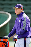 Head coach Jack Leggett (7) of the Clemson Tigers prior to the Reedy River Rivalry game against the South Carolina Gamecocks on Saturday, February 28, 2015, at Fluor Field at the West End in Greenville, South Carolina. South Carolina won, 4-1. (Tom Priddy/Four Seam Images)