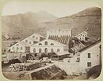 Cantieri di costruzione del tunnel del Frejus. Immagine storica conservata nella Biblioteca della Provincia di Torino.