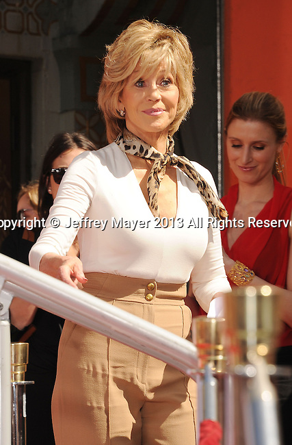 HOLLYWOOD, CA- APRIL 27: Jane Fonda attends actress Jane Fonda's Handprint/Footprint Ceremony during the 2013 TCM Classic Film Festival at TCL Chinese Theatre on April 27, 2013 in Los Angeles, California.