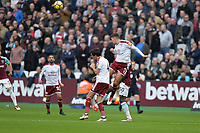 Matthew Lowton of Burnley  heads clear during West Ham United vs Burnley, Premier League Football at The London Stadium on 10th March 2018