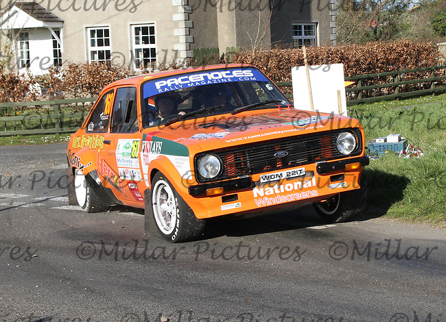 Philip Greenlee - Billy Regan in a Ford Escort Mk 2 at Junction 11 on Special Stage 6 Bucks Head on the Discover Northern Ireland Circuit of Ireland Rally which was a constituent round of  the FIA European Rally Championship, the FIA Junior European Rally Championship, the Clonakilty Irish Tarmac Rally Championship, and the MSA ANICC Northern Ireland Stage Rally Championships which took place on 18.4.14 and 19.4.14 and was based in Belfast.