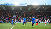 Lincoln City's assistant manager Nicky Cowley, left, and Lincoln City manager Danny Cowley applauds the fans before kick off<br /> <br /> Photographer Chris Vaughan/CameraSport<br /> <br /> The EFL Sky Bet League Two - Lincoln City v Notts County - Saturday 13th January 2018 - Sincil Bank - Lincoln<br /> <br /> World Copyright &copy; 2018 CameraSport. All rights reserved. 43 Linden Ave. Countesthorpe. Leicester. England. LE8 5PG - Tel: +44 (0) 116 277 4147 - admin@camerasport.com - www.camerasport.com